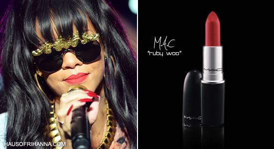Rihanna in MAC's Ruby Woo lipstick
