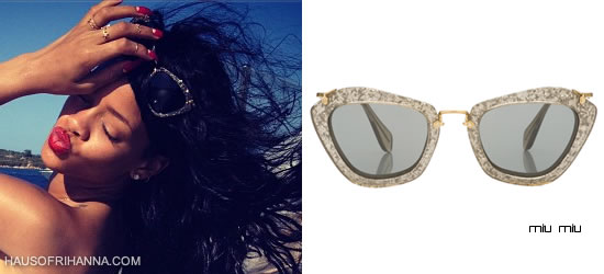 Rihanna In Miu Miu Noir Catwalk Sunglasses