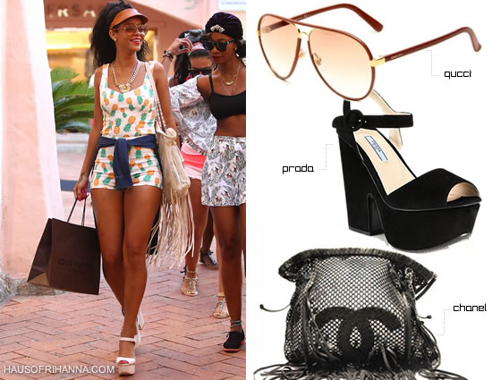 Rihanna in Gucci brown leather aviator sunglasses, Prada platform wedge sandals and Chanel fringe leather bag