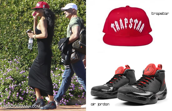 Rihanna in red Trapstar Irongate snapback and Nike Air Jordan 2012