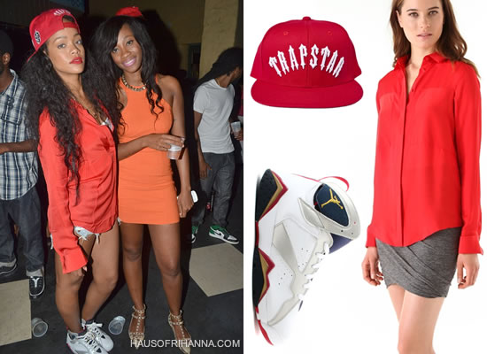Rihanna in T by Alexander Wang cayenne button down shirt, Air Jordan VII Retro Olympic sneakers and Trapstar red Irongate snapback cap