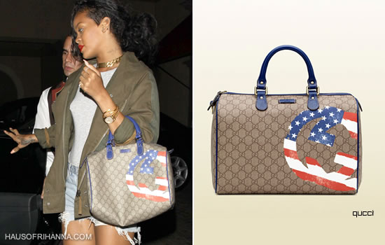 Rihanna carrying Gucci's limited edition GG flag boston bag