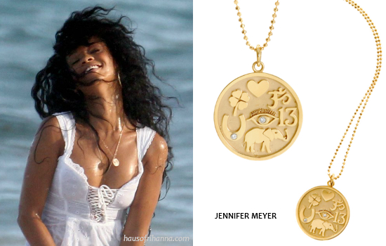 Rihanna in Jennifer Meyer earrings and Good Luck charm necklace