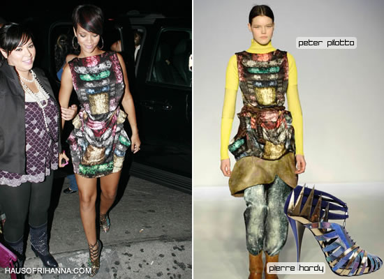 Rihanna in Peter Pilotto dress and Pierre Hardy booties