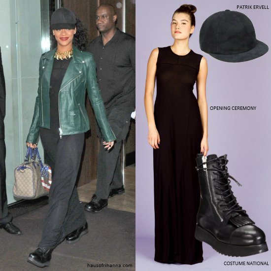 Rihanna in Opening Ceremony black maxi dress, Patrik Ervell cap, Costume National fringe combat boots and Katie Eary gold necklace