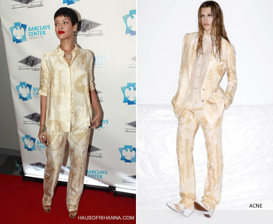 Rihanna at opening of 40/40 club in Brooklyn wearing ACNE resort 2013 dollar print suit