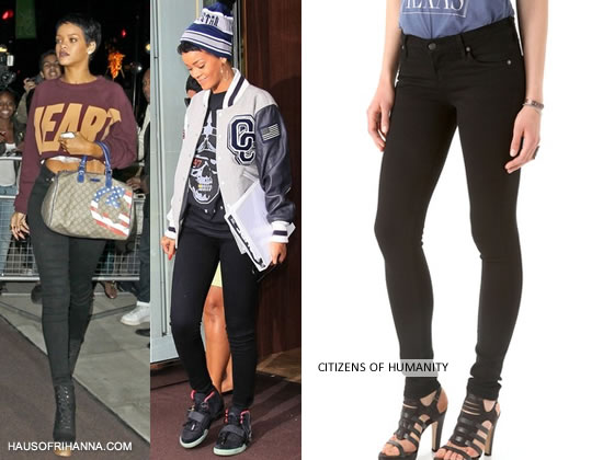 Rihanna in London wearing Citizens of Humanity Avedon black skinny jeans
