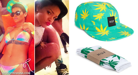 Rihanna in Huf Plantlife hat and socks