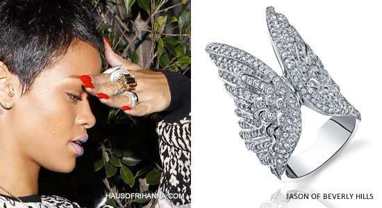 Rihanna in Jason of Beverly Hills Double Angel Wing ring