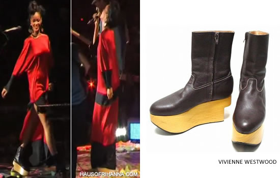 Rihanna in striped Adam Selman dress and Vivienne Westwood rocking horse boots