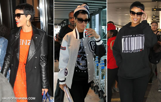 Rihanna in Trapstar x Hitman exclusive clothing