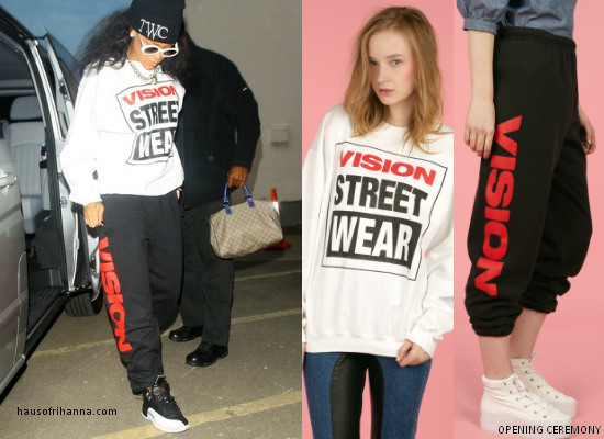 Rihanna in Vision Street Wear by Chloe Sevigny for Opening Ceremony sweatshirt and sweatpants