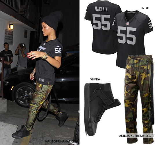 Rihanna in Nike Oakland Raiders Rolando McClain #55 Jersey, Adidas Originals by Jeremy Scott zipped camouflage pants and Supra Vaider red carpet series black sneakers