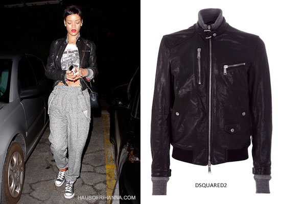 Rihanna in DSquared2 Leather Zip Jacket, Chanel handbag and Converse black high top sneakers