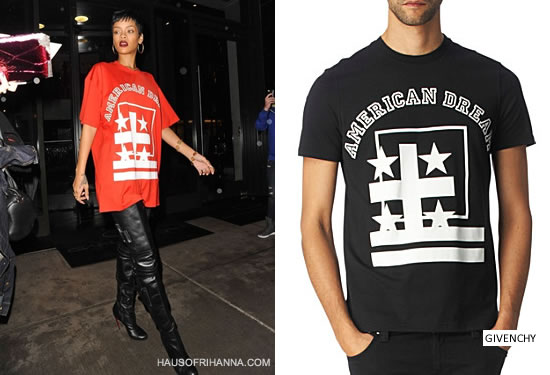 Rihanna in red Givenchy American Dream t-shirt and Christian Louboutin Sea.nn Girl boots