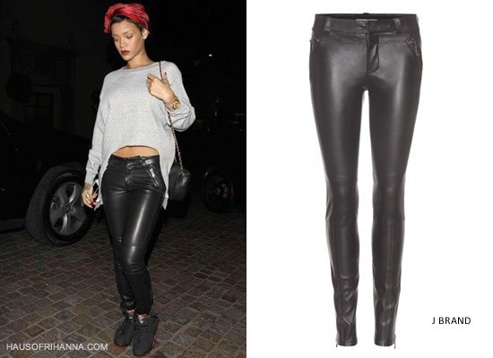 Rihanna In J Brand Quatro Leather Pants