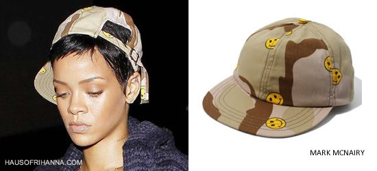 Rihanna In Mark McNairy Smiley Face Camouflage Hat