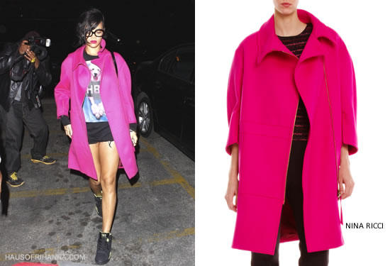 Rihanna in Nina Ricci hot pink wool zip front coat