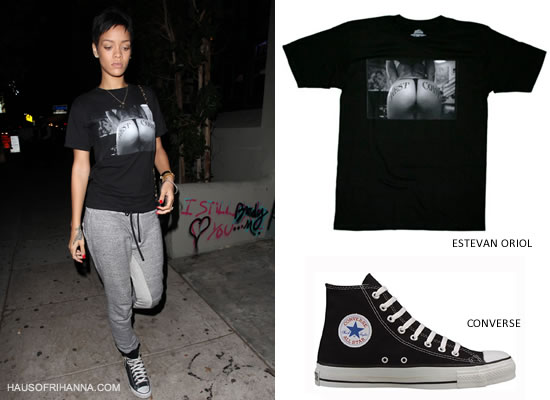 Rihanna in Estevan Oriol West Coast t-shirt, Isaora grey sweatpants, Converse high top sneakers