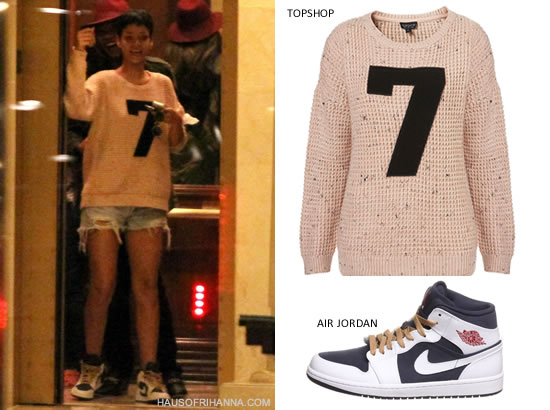 Rihanna in Topshop knitted 7 motif sweater and Air Jordan 1 Phat Olympic sneakers