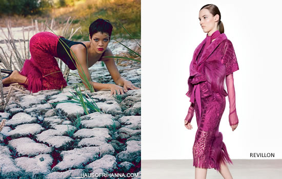 Rihanna in Vogue November 2012 wearing Rosamosario bustier bodysuit and Revillon Resort 2013 pencil skirt with fur trim
