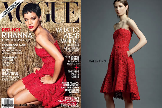 Rihanna wearing Valentino Resort 2013 red strapless dress on the cover of Vogue US November 2012