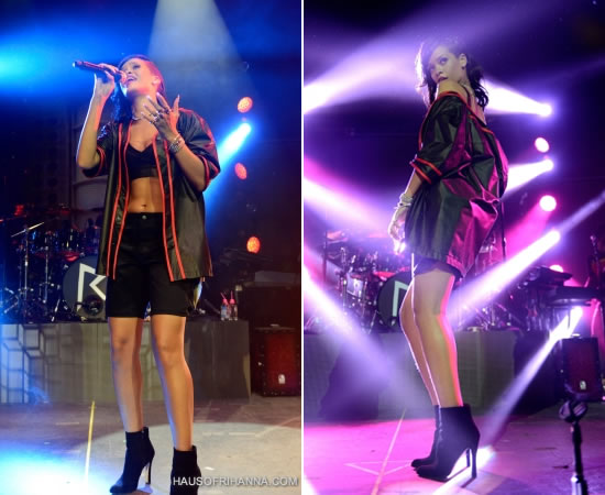 Rihanna performing on the 777 tour in Mexico City wearing Alexander Wang shirt and Adam Selman bra