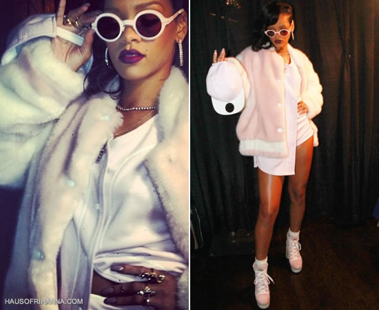 Rihanna on 777 tour in New York wearing Adam Selman pink outfit, Kenzo platform shoes and Mykita Regina sunglasses