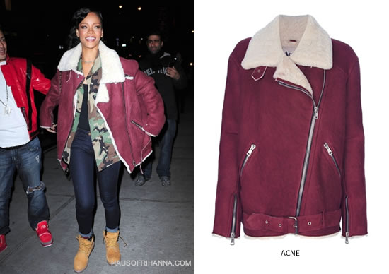 Rihanna in Acne Velocite red shearling jacket, Babylon Cartel camo jacket and Timberland boots