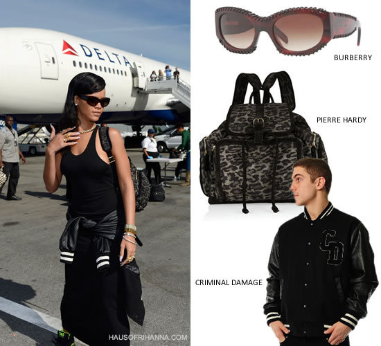 Rihanna in Burberry BE4120Q sunglasses, Criminal Damage letterman jacket, Pierre Hardy backpack and Nike Air Force 180 sneakers