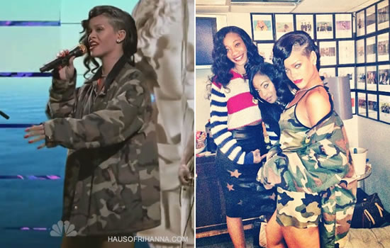 Rihanna on Saturday Night Live wearing Adam Selman camo dress and Carhartt camo jacket with Timberland boots