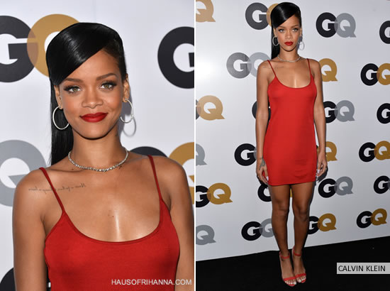 Rihanna in Calvin Klein red mini dress and Manolo Blahnik sandals