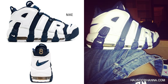 Rihanna showing off Nike Air More Uptempo Scottie Pippen Olympic edition sneakers