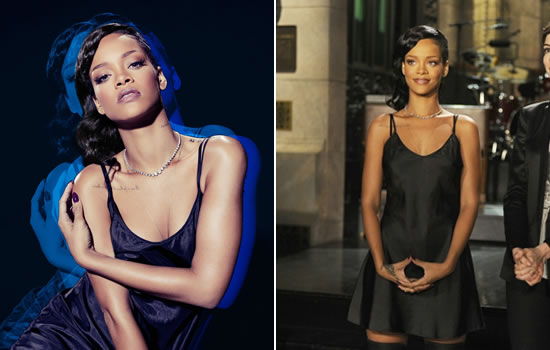 Rihanna's SNL promo shoot - Marc Jacobs black slip dress and Ann Demeulemeester thigh high boots
