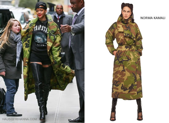 Rihanna in Norma Kamali long camo sleeping bag coat, Trapstar t-shirt and Christian Louboutin Sea.nn Girl boots