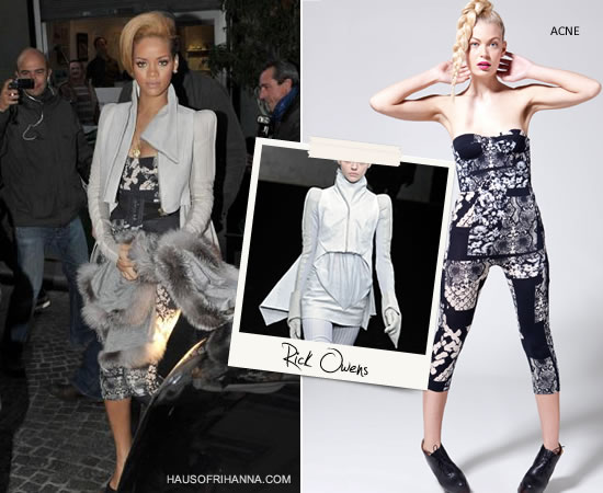 Rihanna in Paris in 2009 wearing a Rick Owens jacket and Acne snake print bustier jumpsuit