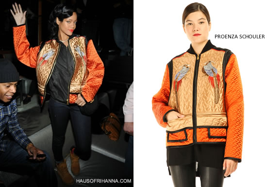 Rihanna in Proenza Schouler orange Birds quilted jacket and Timberland boots