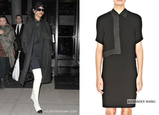 Rihanna in Alexander Wang bonded collar dress, Alexandre Plokhov drape back coat, Chanel boots and Chanel sunglasses