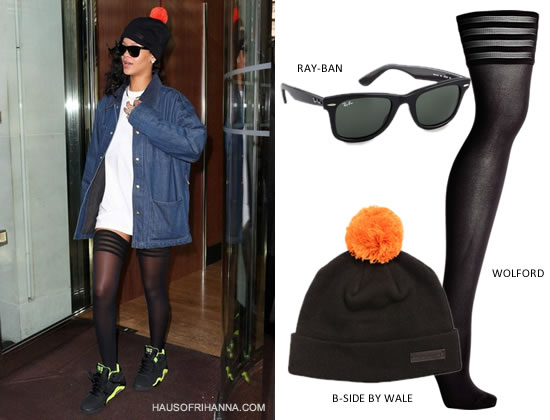 Rihanna wearing Adam Kimmel by Carhartt denim jacket, Wolford velvet striped top hold up tights, Nike Air Force 180 sneakers and B-Side by Wale black beanie with orange bobble
