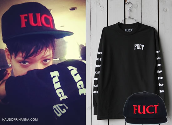 Rihanna in Fuct Wars snapback cap and college longsleeve sweatshirt