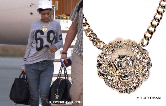 Rihanna wearing grey Hood by Air sweatshirt, Melody Ehsani King of the Jungle necklace and carrying Chanel Cabas Ete tote