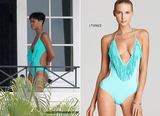 Rihanna in Barbados wearing green L*Space Stardust fringe one-piece swimsuit