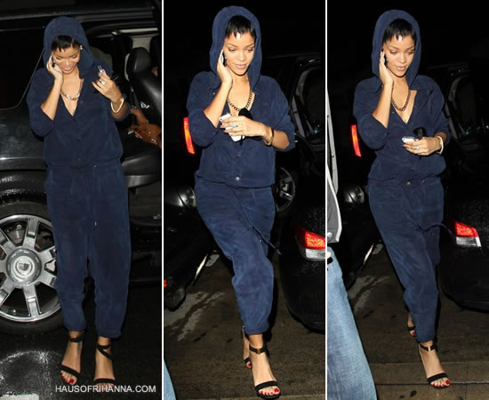 Rihanna wearing navy jumpsuit that she designed for River Island