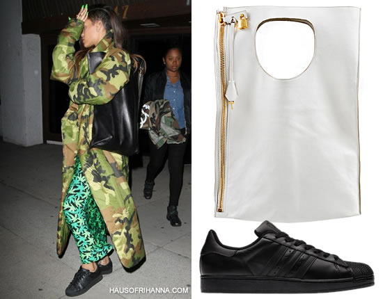 Rihanna wearing Norma Kamali camouflage sleeping bag coat, Adidas Superstar 2 sneakers and Tom Ford Spring/Summer 2013 handbag