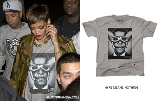 Rihanna in Pyer Moss camouflage leather jacket and Hype Means Nothing Barack Obama t-shirt