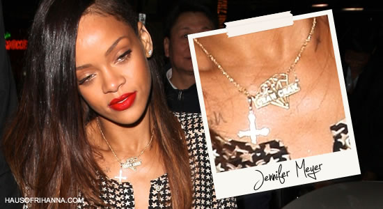 Rihanna in custom Gran Gran nameplate necklace by Jennifer Meyer