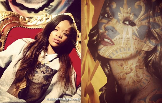 Rihanna wearing Kate Moss sweatshirt by Kylie Lazo of TheFaced and Air Jordan Retro IV Cavs sneakers