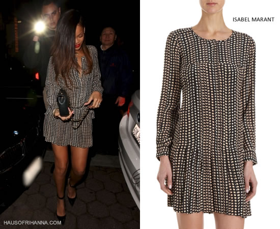 Rihanna in Étoile Isabel Marant's Marak stars and bird print dress, Manolo Blahnik ankle strap suede pumps and Chanel bag