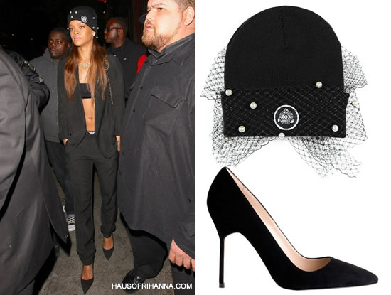 Rihanna in Silver Spoon Attire mesh bow beanie with pearls and Manolo Blahnik suede BB pumps