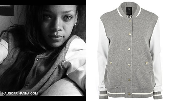 Rihanna wearing Rihanna for River Island grey varsity jacket with white leather sleeves